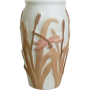 SOLD Consolidated Martele' Dragonfly Vase, Taupe Tri-color, Circa 1926