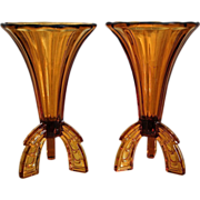 "Czech Amber Glass 6"" Rocket Vases, Pair"