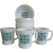 """Fire-King """"Blue Heaven"""" Mugs and Bowls, 8 pieces"""