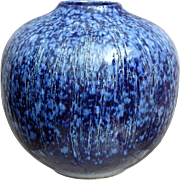 Studio Pottery Vase, Blue Striated Glaze