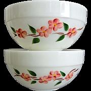 "Fire-King Peach Blossom 8 3/4"" Bowls, Set of 2"