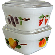 SOLD Fire-King Vintage Fruit Refrigerator Dishes, Set of 2
