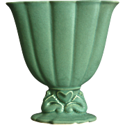 "Cowan Pottery 7"" Seahorse Fan Vase, Maple Green, Circa 1926"
