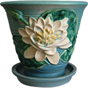 "Roseville Pottery Water Lily Flower Pot w/Saucer #664-5"", Blue, Circa 1943"