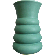 Machine Age Pottery Vase, Matte Green