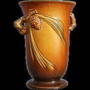 "Roseville Pottery PineCone Vase #838-6"", Brown, Circa 1936"