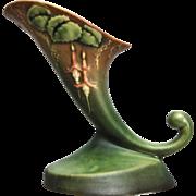 "Roseville Pottery Fuchsia Cornucopia #129-6"", Green, Ca. 1938"