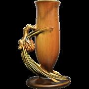 "Roseville Pottery PineCone Bud Vase #112-7"", Brown, Circa 1936"