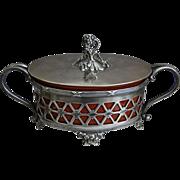 Meriden Silverplate Covered Dish w/Sarreguemines insert, Circa 1900