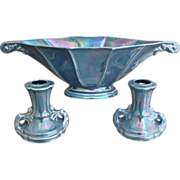 Cowan Pottery Mantle Set, Larkspur Lustre, Circa 1925