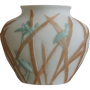 SOLD Consolidated Martele' Katydid Ovoid Vase c 1926, Bi-color on Satin Milk Glass
