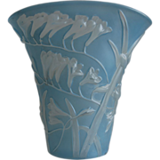 REDUCED Phoenix Glass Sculptured Artware Freesia Fan Vase, Blue Wash, w/Label