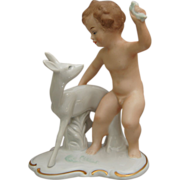 "REDUCED Wallendorf Porcelain Figurine, ""Boy With Fawn"", c 1960's"