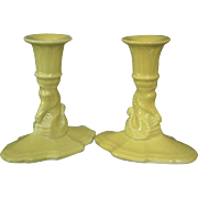 REDUCED Cowan Pottery Seahorse Candlesticks, Pair, Ca. 1928, Daffodil Yellow