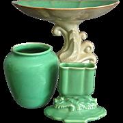Cowan Pottery April Green Trio, Circa 1930