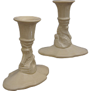 REDUCED Cowan Pottery Seahorse Candlesticks Ca. 1928, Pair, Ivory