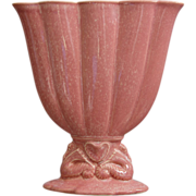 "REDUCED Cowan Pottery 7"" Seahorse Fan Vase Ca. 1926, Apple Blossom Pink"