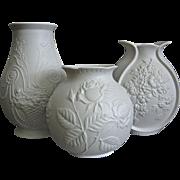 Kaiser Porcelain Matte White Vase Trio #3, Circa 1970