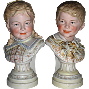 Early 20th Century Pair of  Bisque Busts of German Children