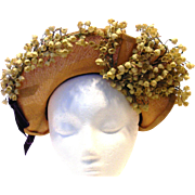 Lovely Vintage Straw and Floral 1940's Ladies Hat
