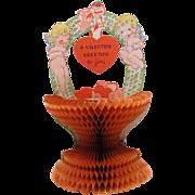 Vintage Valentine Honeycomb Basket with Cherubs