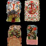 4 Vintage Fold Out Valentines