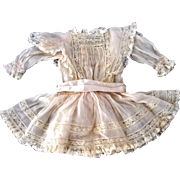 Vintage Silk Crepe d'chine and Lace Doll Dress