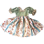Antique Silk Doll Dress Floral Print