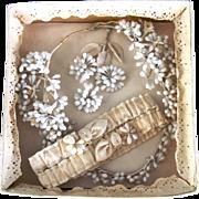 SALE PENDING Antique Wax Bridal Coronet, Garter and Groom's Boutonniere in Original Box /Brida