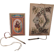 SOLD Two Pretty Dance Cards & Tiny Pencils * Great Doll Accessories