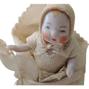 REDUCED Adorable German All Bisque Candy Baby In Original Bunting