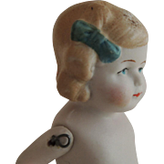 SOLD Cute 4 1/2 Inch All Bisque Pink Tint Limbach Girl with Blue Bows