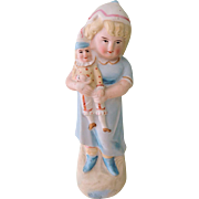 REDUCED Lovely Early Figurine with Girl Holding Jester Doll
