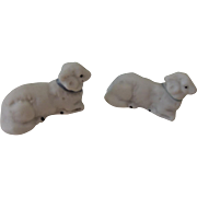 REDUCED Pair of Tiny Bisque Lambs Perfect for Christmas Display or Dollhouse