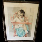 """Sweet Original Bessie Pease Gutmann """"His Majesty"""" Print"""