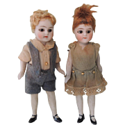 Darling Pair of German All Bisque Mignonette Type Brother & Sister