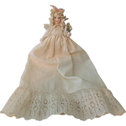 REDUCED Lovely Parian Stone Bisque Doll In Fabulous Christening Outfit
