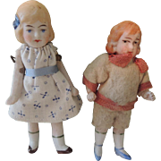 SALE Two All Bisque Boy and Girl for Doll House or Display
