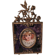 Lovely Miniature Frame with Ornate Trim with Purple