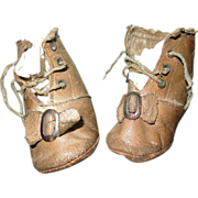 SOLD Cutest Tan Leather Baby Doll Shoes