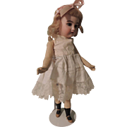 "REDUCED Peaches & Cream 11"" German Bisque Head Doll with Walking Mechanism"