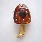 SALE Trifari Lucite Brass Studded Mushroom Brooch