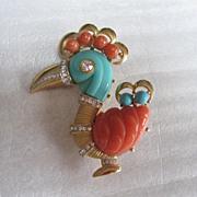 SALE Hattie Carnegie's Tropical Parrot Pin