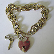 SALE Bracelet With Padlock Heart & Key