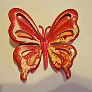 SALE Pretty 1960s Red & White Butterfly Pin