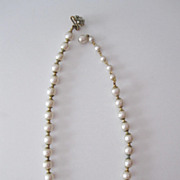 SALE Vintage Miriam Haskell Pearl Choker Necklace, Floral Clasp