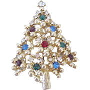 SALE Vintage Christmas Tree Brooch with Gold Ball Settings