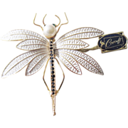 SALE Large jeweled and enameled Corocraft Dragonfly Brooch W/Original Tag