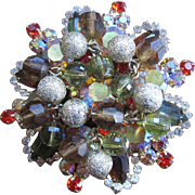 Stunning Juilana Brooch with silvered dangle balls and aurora borealis, vintage pin