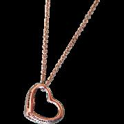 Tiffany Sterling Silver Open Heart Elsa Peretti Pendant Necklace